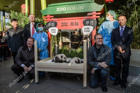 (L-R) China Ambassador to Germany Wu Ken, Berlin Zoo director Andreas Knieriem, Zoo Berlin supervisory board chair Frank Bruckmann (back), a zoo keeper, newly born panda cub Meng Yuan and Meng Xian, Berlin Governing Mayor Michael Mueller, a zoo keeper and Senior veterinarian and vice director of the Animal Disease Prevention and Control Department of Chengdu Research Base of Giant Panda Breeding Lan Jingchao pose for media during the presentation of the two recently born panda twin cubs at the Berlin Zoo in Berlin, Germany, 09 December 2019. Giant Panda Meng Meng gave birth to the two baby pandas on 31 August 2019, to father Jiao Qing. The two pandas, Meng Meng and Jiao Qing, are on a loan from China for 15 years.