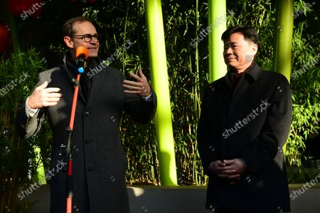 Governing Mayor of Berlin Michael Mueller (L) speaks next to China Ambassador to Germany Wu Ken (R) during the presentation of the two recently born panda twin cubs (not pictured) at the Berlin Zoo in Berlin, Germany, 09 December 2019. Giant Panda Meng Meng gave birth to the two baby pandas on 31 August 2019, to father Jiao Qing. Meng Meng and Jiao Qing are on loan from China for 15 years.15 years.
