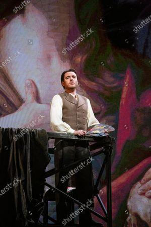 Tenor Francesco Meli during the opera La Tosca by Giacomo Puccini at La Scala Opera Theatre in Milan