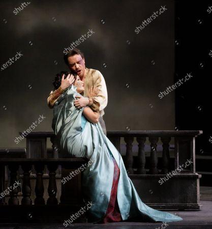 Stock Image of Soprano Anna Netrebko, tenor Francesco Meli during the opera La Tosca by Giacomo Puccini at La Scala Opera Theatre in Milan