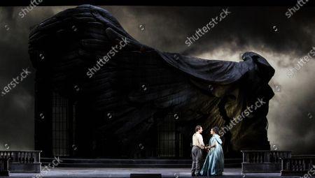 Soprano Anna Netrebko, tenor Francesco Meli during the opera La Tosca by Giacomo Puccini at La Scala Opera Theatre in Milan