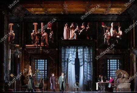 Tenor Francesco Meli and baritone Luca Salsi during the opera La Tosca by Giacomo Puccini at La Scala Opera Theatre in Milan