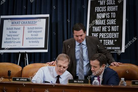 Jim Jordan, Devin Nunes, John Ratcliffe. Rep. Jim Jordan, R-Ohio, Rep. Devin Nunes, R-Calif, the ranking member of the House Intelligence Committee, and Rep. John Ratcliffe, R-Texas, talk during a break as the House Judiciary Committee considers the investigative findings in the impeachment inquiry against President Donald Trump, on Capitol Hill in Washington