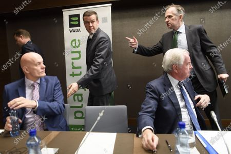 (L-R) World Anti-Doping Agency (WADA) Director, Intelligence and Investigations, Gunter Younger, President-Elect of World Anti-Doping Agency (WADA) Witold Banka, President of World Anti-Doping Agency (WADA) Craig Reedie, and WADA's press officer James Fitzgerald, behind right, after a press conference after WADA's extraordinary Executive Committee (ExCo) meeting on the Russian doping data manipulation, in Lausanne, Switzerland, 09 December 2019. The World Anti-Doping Agency has banned Russian athletes from the 2020 Olympics, and the Winter Games in 2022.