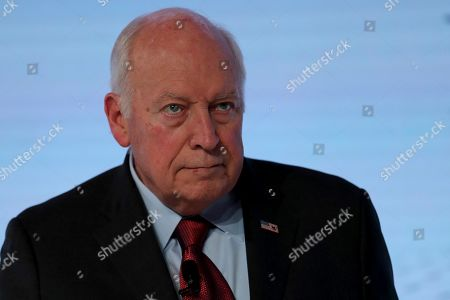 """Stock Photo of Former U.S. Vice President Dick Cheney reacts after his speech at the Arab Strategy Forum in Dubai, United Arab Emirates, . Cheney warned Monday that """"American disengagement"""" in the Middle East will benefit only Iran and Russia, indirectly criticizing President Donald Trump's pledges to pull forces out of the region"""