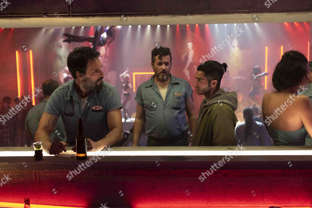 Stock Image of Rodrigo Santoro as Joel Hart, Shane Callahan as Bru and Mena Massoud as Ethan Hart