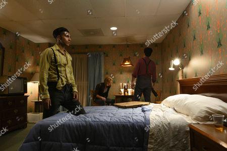 Mena Massoud as Ethan Hart, Rhys Wakefield as Matty and David Dastmalchian as Johnson