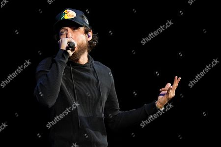 Chris Janson performs during the US99 Stars and Strings concert at the Allstate Arena, in Rosemont