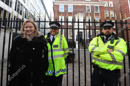 British actress Lily Cole (L) meets Extinction Rebellion hunger strikers outside the Conservative party campaign headquarters in London, Britain, 09 December 2019. Activists from the Extinction Rebellion (XR) global environmental movement are staging protests in London to demand government action against air pollution in the capital. Media reports say that the activists were entering the fouth week of hunger strike and have invited Prime Minister Boris Johnson to meet them for a discussion on climate issues.