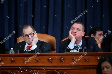 Doug Collins, Jerrolf Nadler. House Judiciary Committee ranking member Rep. Doug Collins, R-Ga., right, and House Judiciary Committee Chairman Rep. Jerrold Nadler, D-N.Y., left, listen as Democratic staff attorney Daniel Goldman and Republican staff attorney Steve Castor testify as the House Judiciary Committee hears investigative findings in the impeachment inquiry of President Donald Trump, on Capitol Hill in Washington