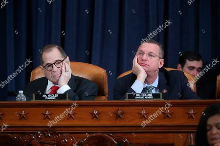 Jerrolf Nadler, Doug Collins. House Judiciary Committee ranking member Rep. Doug Collins, R-Ga., right, and House Judiciary Committee Chairman Rep. Jerrold Nadler, D-N.Y., left, listen as Democratic staff attorney Daniel Goldman and Republican staff attorney Steve Castor testify as the House Judiciary Committee hears investigative findings in the impeachment inquiry of President Donald Trump, on Capitol Hill in Washington