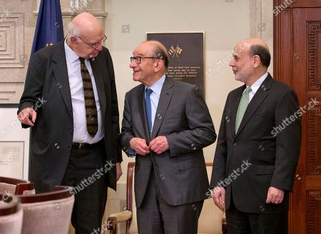 Ben Bernanke, Paul Volcker, Alan Greenspan. Federal Reserve Board Chairman Ben Bernanke, right, with former chairmen Paul Volcker, left, and Alan Greenspan, talk after participating in the ceremonial signing of a certificate commemorating the 100th anniversary of the signing of the Federal Reserve Act at the Federal Reserve Building in Washington. Volcker, the former Federal Reserve chairman died, according to his office, He was 92
