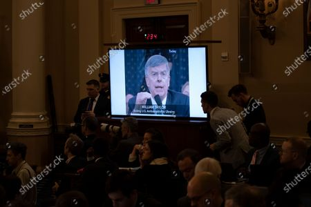 A clip of Ambassador William Taylor is played during a public impeachment inquiry hearing with the United States House Judiciary Committee on Capitol Hill in Washington, DC, on December 9th, 2019.