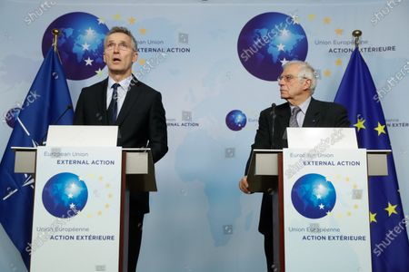 NATO Secretary General Jens Stoltenberg (L) and European High Representative of the Union for Foreign Affairs, Josep Borrell (R), give a joint press conference ahead of a meeting at the building of the European External Action Service (EEAS), in Brussels, Belgium, 09 December 2019.