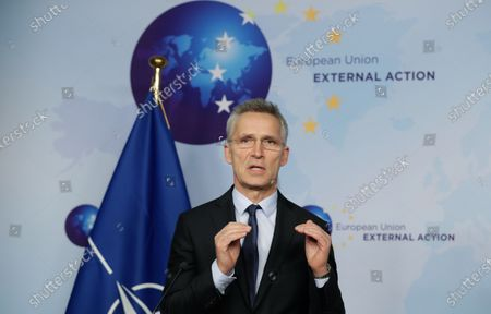 NATO Secretary General Jens Stoltenberg speaks at a joint press conference with European High Representative of the Union for Foreign Affairs, Josep Borrell (unseen), ahead of a meeting at the building of the European External Action Service (EEAS), in Brussels, Belgium, 09 December 2019.