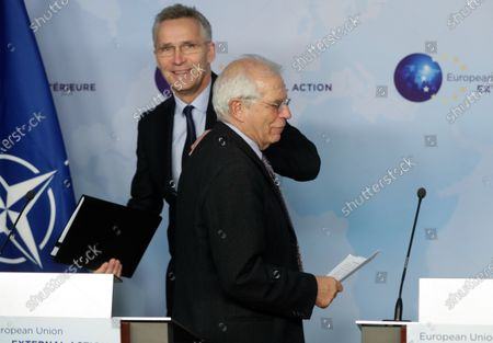 Stock Picture of NATO Secretary General Jens Stoltenberg (L) and European High Representative of the Union for Foreign Affairs, Josep Borrell (R), give a joint press conference ahead of a meeting at the building of the European External Action Service (EEAS), in Brussels, Belgium, 09 December 2019.