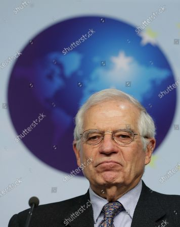 European High Representative of the Union for Foreign Affairs, Josep Borrell speaks at a joint press conference with NATO Secretary General Jens Stoltenberg (unseen), ahead of a meeting at the building of the European External Action Service (EEAS), in Brussels, Belgium, 09 December 2019.