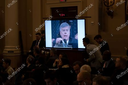A clip of Ambassador William Taylor is played during the House Judiciary Committee hearing 'Counsel Presentations of Evidence in the Impeachment Inquiry of President Donald Trump ' on Capitol Hill in Washington, DC, USA, 09 December 2019. The committee is hearing evidence from the House Judiciary Committee and the House Permanent Select Committee on Intelligence staff lawyers of both parties as it considers whether President Trump's actions rise to the level of impeachable offenses.