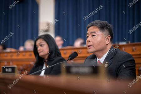 Stock Image of Democratic Representative from California Ted Lieu questions a witness during the House Judiciary Committee hearing 'Counsel Presentations of Evidence in the Impeachment Inquiry of President Donald Trump' on Capitol Hill in Washington, DC, USA, 09 December 2019. The committee is hearing evidence from the House Judiciary Committee and the House Permanent Select Committee on Intelligence staff lawyers of both parties as it considers whether President Trump's actions rise to the level of impeachable offenses.