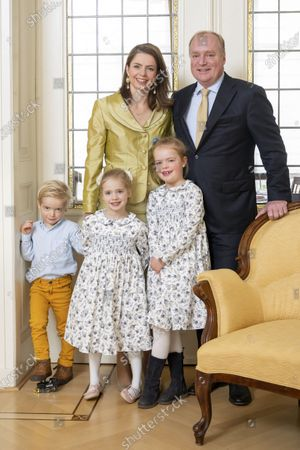 Family Christmas card photo of Prince Carlos of Bourbon-Parma and his wife Princess Anne Marie de Bourbon with their children Princess Luisa, Princess Cecilia and Prince Carlos in The Hague.