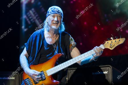Bass guitarist Roger Glover performs during the concert of the British rock band Deep Purple in Papp Laszlo Budapest Sports Arena in Budapest, Hungary, 09 December 2019.