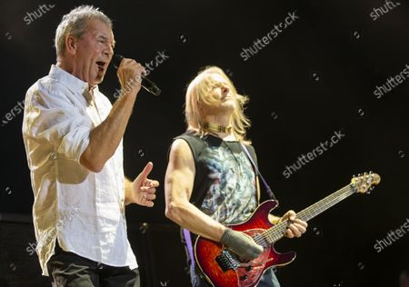 Ian Gillan (L) and guitarist Steve Morse perform during the concert of the British rock band Deep Purple in Papp Laszlo Budapest Sports Arena in Budapest, Hungary, 09 December 2019.