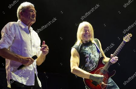 Stock Image of Ian Gillan (L) and guitarist Steve Morse perform during the concert of the British rock band Deep Purple in Papp Laszlo Budapest Sports Arena in Budapest, Hungary, 09 December 2019.