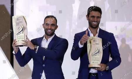 Colombian tennis players Sebastian Cabal (L) and Robert Farah (R) receive the award of athletes of the year 2019, in Bogota, Colombia, 09 December 2019. Cyclist Egan Bernal, current champion of the Tour de France, and tennis players Robert Farah and Juan Sebastian Cabal, winners of doubles of the United States Open and Wimbledon, were selected best athletes of the year in Colombia by the newspaper El Espectador.