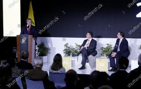 United Nations Development Program (UNDP) Administrator Achim Steiner (R), President of Colombia, Ivan Duque (L), and the Director of the UNDP Human Development Report, Pedro Conceicao (C), take part in the presentation of that study, in Bogota, Colombia, 09 December 2019. Colombian President Ivan Duque announced that he will sign this week the Escazu Agreement, which seeks to improve human rights and environmental protection in Latin America and the Caribbean.