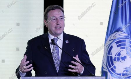 United Nations Development Program (UNDP) Administrator Achim Steiner speaks during the UNDP Human Development Report 2019 presentation, in Bogota, Colombia, 09 December 2019. Colombian President Ivan Duque announced that he will sign this week the Escazu Agreement, which seeks to improve human rights and environmental protection in Latin America and the Caribbean.