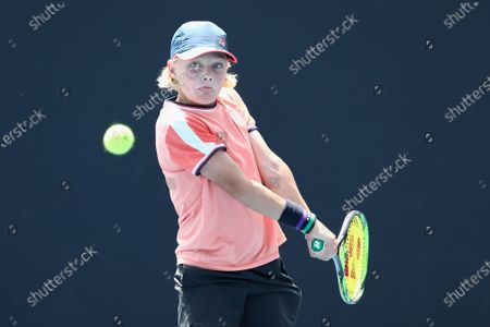 Cruz Hewitt of Australia in action during the 12/u Australian Championships of the Australian Open 2020 Play-off at Melbourne Park in Melbourne, Australia, 10 December 2019.