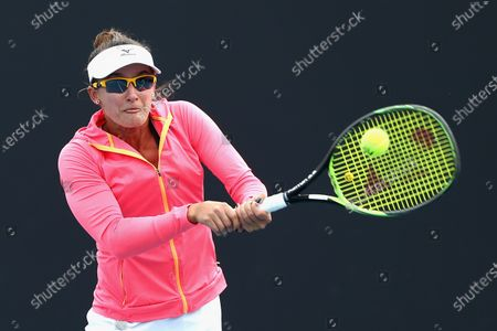 Arina Rodionova of Australia plays a backhand in her singles match against Sara Tomic of Australia during the Australian Open 2020 Play-off at Melbourne Park in Melbourne, Australia, 10 December 2019.