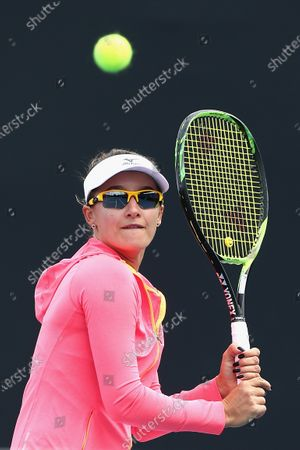 Stock Image of Arina Rodionova of Australia plays a backhand in her singles match against Sara Tomic of Australia during the Australian Open 2020 Play-off at Melbourne Park in Melbourne, Australia, 10 December 2019.