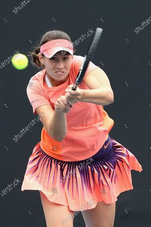Sara Tomic of Australia in action against Arina Rodionova of Australia during their singles match at the Australian Open 2020 Play-off at Melbourne Park in Melbourne, Australia, 10 December 2019.