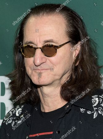 Stock Image of Geddy Lee signs copies of his book at the Union Square Barnes and Noble
