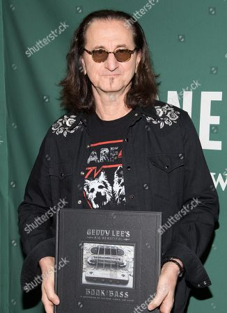 Stock Photo of Geddy Lee signs copies of his book at the Union Square Barnes and Noble