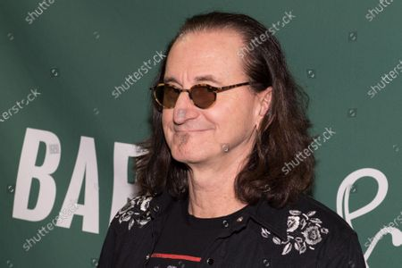 Stock Picture of Geddy Lee signs copies of his book at the Union Square Barnes and Noble