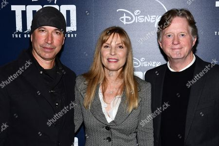 "Stock Photo of Ericson Core, Tom Flynn, Kim Zubick. Ericson Core, left, Kim Zubick and Tom Flynn attend a screening of ""Togo"", hosted by Disney Plus and The Cinema Society, at iPic Theater, in New York"
