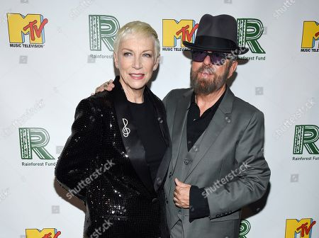 Annie Lennox, Dave Stewart. Singer Annie Lennox and musician Dave Stewart of The Eurythmics arrive at the 30th anniversary Rainforest Fund Benefit Concert at the Beacon Theatre, in New York