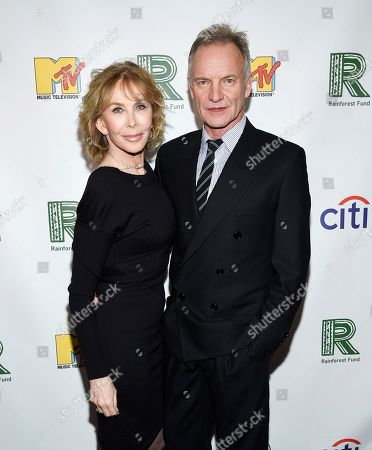 Trudie Styler, Sting. Recording artist Sting, right, and wife Trudie Styler arrive at the 30th anniversary Rainforest Fund Benefit Concert at the Beacon Theatre, in New York