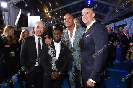 Matt Tolmach, Kevin Hart, Dwayne Johnson and Hiram Garcia at the World Premiere of Columbia Pictures' JUMANJI: THE NEXT LEVEL at the TLC Chinese Theater.