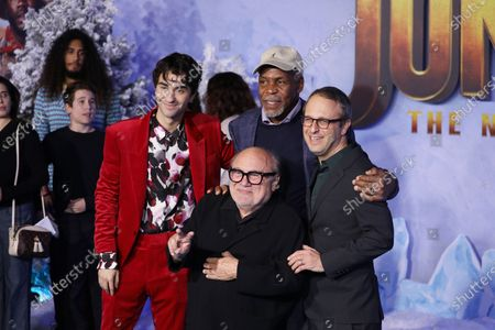 Alex Wolff (L), Danny Glover (C. top) and Danny Devito (C, bottom) pose on the red carpet with director Jake Kasdan (R) prior to the premiere of the movie 'Jumanji: The Next Level' at the TCL Chinese Theater in Los Angeles, California, USA, 09 December 2019. The movie will be released in US theaters on 13 December.