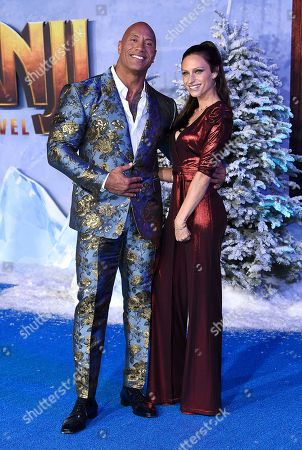 """Dwayne Johnson, Lauren Hashian. Dwayne Johnson, left, arrives with Lauren Hashian at the Los Angeles premiere of """"Jumanji: The Next Level"""" at the TCL Chinese Theatre on in Calif"""