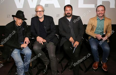"Edward Lachman, Tim Robbins, Affonso Goncalves, Mario Correa. Director of photography Edward Lachman, Tim Robbins, editor Affonso Goncalves and writer Mario Correa seen at the Focus Features ""Dark Waters"" Special Screening at the London Hotel on in Los Angeles"