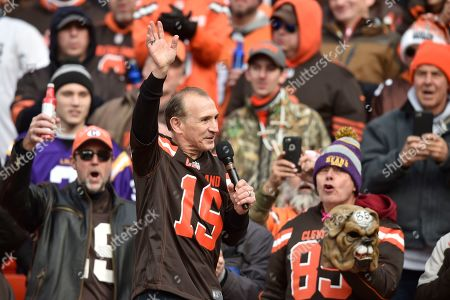 Former World Boxing Association Lightweight Champion Ray 'Boom Boom' Mancini speaks to the crowd during an NFL football game between the Cincinnati Bengals and the Cleveland Browns, in Cleveland. The Browns won 27-19
