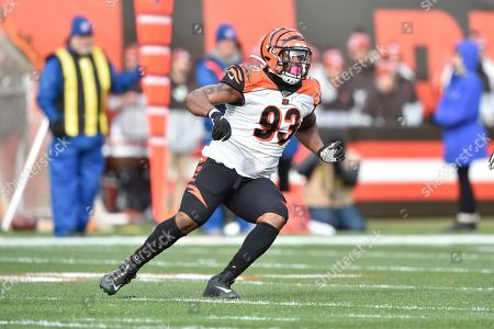 Stock Picture of Cincinnati Bengals defensive tackle Andrew Brown (93) runs during an NFL football game against the Cleveland Browns, in Cleveland. The Browns won 27-19