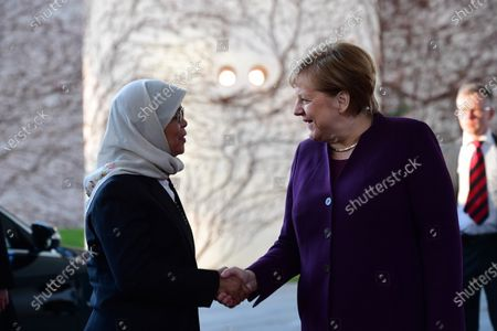 German Chancellor Angela Merkel (R) welcomes Singapore President Halimah Yacob at the chancellery in Berlin, Germany, 10 December 2019. President Halimah Yacob is on a five-day state visit to Germany, the first by a Singapore head of state to the country.