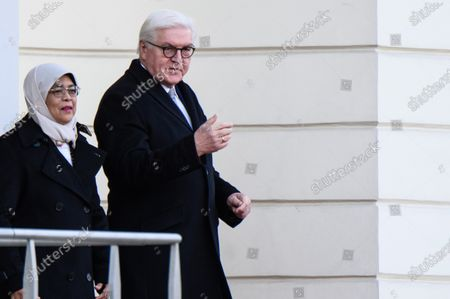 German President Frank-Walter Steinmeier (R) and Singapore President Halimah Yacob walk towards a ceremony with military honors in the yard of Bellevue Palace in Berlin, Germany, 10 December 2019. President Halimah Yacob is on a five-day state visit to Germany, the first by a Singapore head of state to the country.