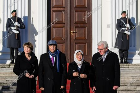 German President Frank-Walter Steinmeier (R) and his wife Elke Buedenbender (L) with Singapore President Halimah Yacob (3-L), her husband Mohammed Abdullah Alhabshee (2-L) pose for media in front of Bellevue Palace in Berlin, Germany, 10 December 2019. President Halimah Yacob is on a five-day state visit to Germany, the first by a Singapore head of state to the country.