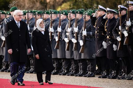 German President Frank-Walter Steinmeier (L) and Singapore President Halimah Yacob walk walk next to each other during a ceremony with military honors in the yard of Bellevue Palace in Berlin, Germany, 10 December 2019. President Halimah Yacob is on a five-day state visit to Germany, the first by a Singapore head of state to the country.
